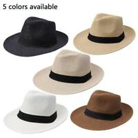 Jazz Beach Hat Sun Panama  Cap Men Women Unisex Paper Straw Trilby Fedora