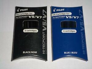 2 PACKS 6 Refills X PILOT HI-TECHPOINT V5/V7 LIQUID INK ROLLERBALL REFILL Blk BL