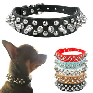 Spiked Studded Dog Collars PU Leather for Small Puppy Dog Chihuahua Red Necklace
