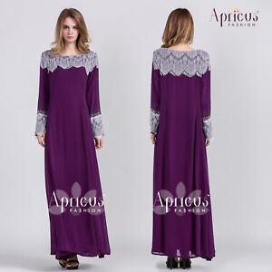New Women Maxi Dress Kaftan Lace Chiffon Soft Abaya Muslimah Long Gown Size 42