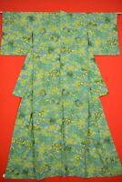 Vintage Japanese Silk Antique BORO KIMONO Kusakizome KOMON Dyed Textile/YD14/760