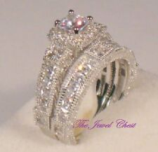 2.50 Ct Princess Antique Design Diamond Engagement Ring Wedding set White gold