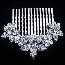 USA Hair Comb Medium using Swarovski Crystal Pin Vintage Bridal Wedding Silver 2