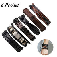 6X Vintage Men Bracelet Multilayer Leather Rope Wax Rope Braided Bracelet_HO