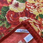 April Cornell Square Floral Cotton Tablecloth Red Green Yellow Cottage 53'