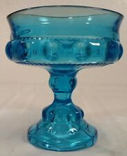 Tiffin-Franciscan Kings Crown Compote Aqua Blue EXC!