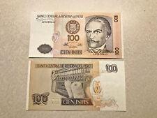 2- Peru 100 Intis Notes Unc. #8453
