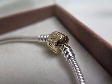 NEW w/GIFT SET Pandora 2 Tone 7.5 inch Bracelet w/ Gold Clasp 19 CM 590702HG-19