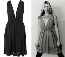 TOPSHOP KATE MOSS BLACK PLUNGE GEORGETTE MARILYN GRECIAN BOHO PARTY DRESS 12 40