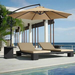 10' Ft Hanging Umbrella Patio Sun Shade Offset Outdoor UV Resistant w/ Base Tan