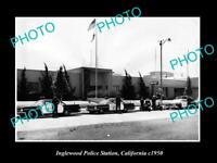 OLD LARGE HISTORIC PHOTO OF INGLEWOOD CALIFORNIA THE POLICE STATION c1950