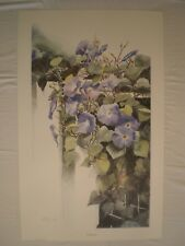 ARTIST SIGNED PROOF #/20 PURPLE CLEMATIS FLORAL WALL ART LITHOGRAPH PRINT 34x21