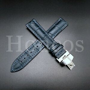 18-24 LEATHER WATCH BAND STRAP CLASP FOR OMEGA SEAMASTER PLANET OCEAN WATCH BLUE