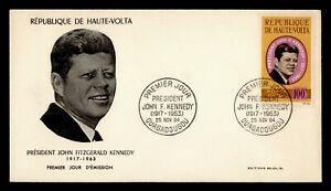 DR WHO 1964 UPPER VOLTA FDC JOHN F KENNEDY JFK CACHET  g21957