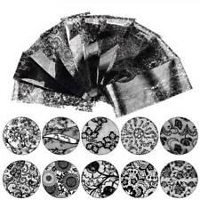 10Pcs 4*20cm Black Lace Nail Foil Flower Nail Art Transfer Sticker Manicure