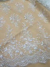 """49"""" Wide Embroidery Corded Bridal Lace Sequin Wedding Lace Fabric 0.5 Meter"""