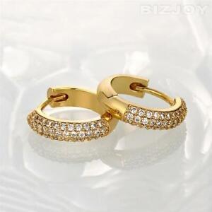 Women's Kids 18K Gold Plated  13mm Very Small Cubic Zirconia Small Hoop Earrings