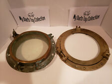 Vintage Brass Ship/Boat Porthole W/ Glass, 9.75 In, 7In Glass w/ 11in accessory