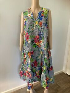 virtuelle s/less tropical palm floral print cotton tiered dress 14 as new