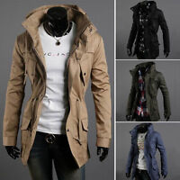 HOT Mens Zip Button Hooded Slim Fit Collar Jacket Long Coat Outwear  Fashion