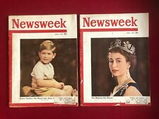 "1953, Prince Charles / Queen Elizabeth, ""Newsweek"" Magazines (Set of 2) Vintage"