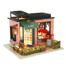 Wooden Doll House Vintage Book Store With Furniture Set Miniature DIY Gift Girl