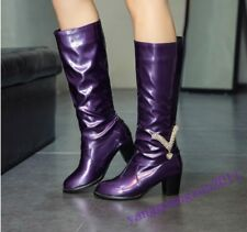 New Fashion Womens Knee High Boots Patent Leather Rhinestones Chunky Heels Sexy