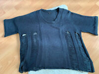 Nuciel Distressed Cutout Sweater Navy Blue Pullover SMALL