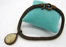 Estate Stephen Dweck Carved Quartz Bronze 100.5 Gram Mesh Toggle Clasp Necklace