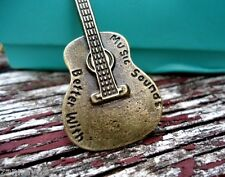 You Engrave Name Bronze Guitar Inscription MUSIC SOUNDS BETTER WITH ??? 50cm