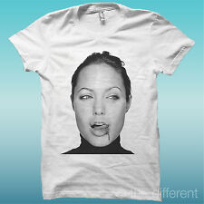 """T-SHIRT """" ANGELINA JOLIE BLOOD """" BIANCO THE HAPPINESS IS HAVE MY T-SHIRT NEW"""