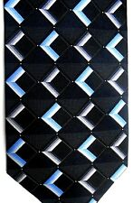 "Bergamo Men's Silk Tie 64.5"" X 4"" Black w/ blue/silver Geometric"