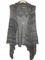 New Ladies women Italian Grey charcole Front open Sleeveless Cardigan 8-14