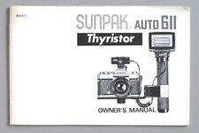 Sunpak Auto 611 Flash Instruction Manual