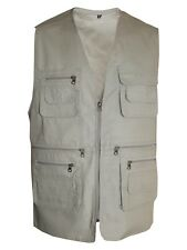 Mens Multipockets Lightweight Casual Summer Gilet Mesh Waistcoat Fishing Hunting Beige X-large
