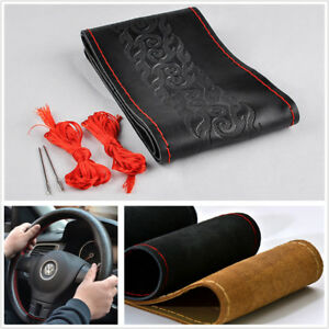 DIY Black Leather Braided Car Steering Wheel Protector Covers W/Needle&Red Line