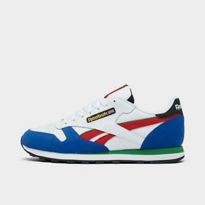 REEBOK CLASSIC LEATHER GROW CASUAL MEN's WHITE - BLUE - RED - GREEN AUTHENTIC US