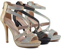 Women Fashion High Heels Glitter Stilettos Sandals Brilliant Party Wedding Shoes
