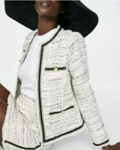 ZARA Tweed Boucle Blazer Jacket Sz L White Black Cream
