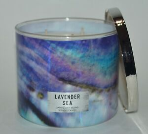 NEW BATH & BODY WORKS LAVENDER SEA SCENTED CANDLE 3 WICK 14.5 OZ LARGE HTF