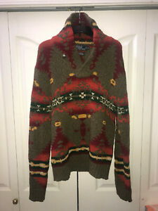 Unisex Polo Ralph Lauren Southwestern Rancher Shawl Collar MIXED Wool Sweater L