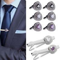 Men's Cross Pattern Cufflinks & Neck Tie Clip Pin Clasp Bar Set Wedding Gift