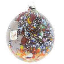 GlassOfVenice Murano Glass Millefiori Silver Foil Christmas Ornament