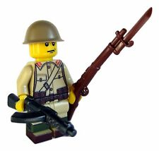 Lego Custom WWII JAPANESE Soldier Minifigure W/ BrickArms Arisaka & SMG Military