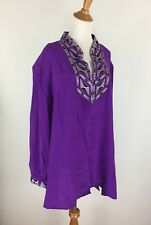 NWT Bob Mackie QVC Womens Sz 3X Purple Silver Black 100% Silk Button Shirt A67