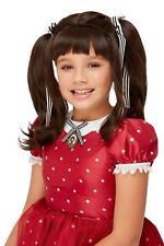 Santoro Ruby Wig Dark Brown Childrens Dolly Fancy Dress Accessory Girls Kids