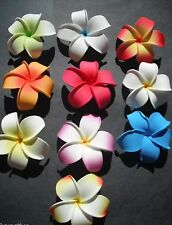 Set of 10 Hawaiian Plumeria Foam Flower Hair Clips Wedding Bridal Luau Party NEW