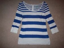 Womens blue striped Old Navy 3/4 sleeve shirt top blouse S RN54023 885216-00!