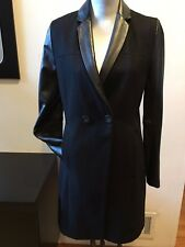 NEW KENNETH COLE WOOL LEATHER SLEEVES BLACK COAT SIZE 2