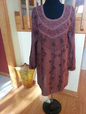 Kurti Long Sleeves Tunic Women Wear Embroidered Indian brown Top siz M free ship